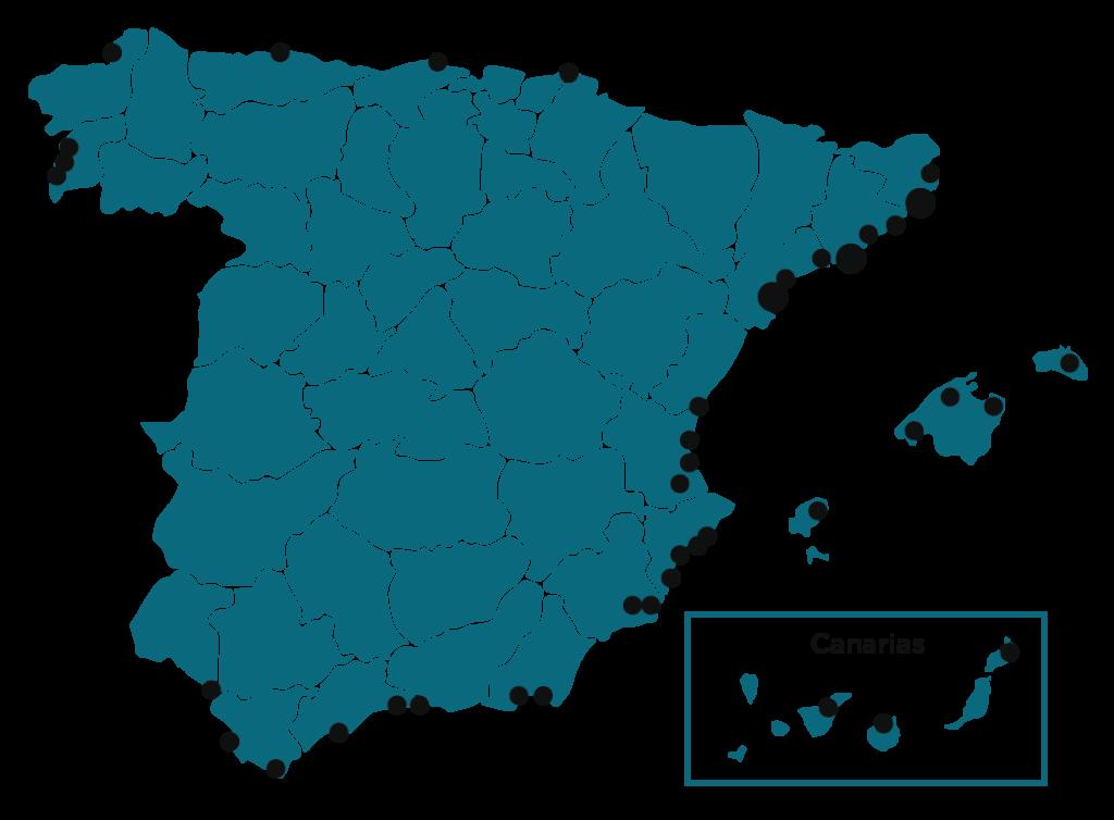 Mapa red de clientes España página empresa