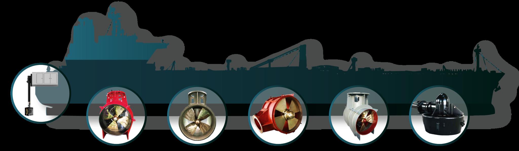 Silueta barco mercante con diferentes modelos de hélices